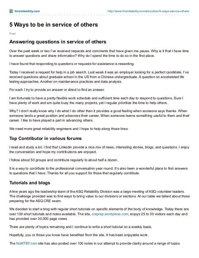 fmsreliability.com http://www.fmsreliability.com/education/5-ways-service-others/ Fred 5 Ways to be in service of others A...