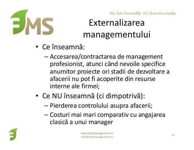 • Ce înseamnă: – Accesarea/contractarea de management profesionist, atunci când nevoile specifice anumitor proiecte ori st...