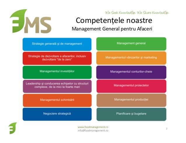 Competențele noastre Management General pentru Afaceri www.foodmanagement.ro info@foodmanagement.ro 7