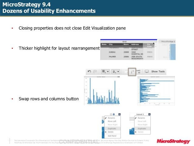 MicroStrategy 9.4  Dozens of Usability Enhancements  • Closing properties does not close Edit Visualization pane  • Thicke...