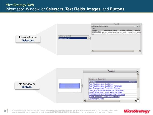MicroStrategy Web  Information Window for Selectors, Text Fields, Images, and Buttons  The Information Contained In This P...