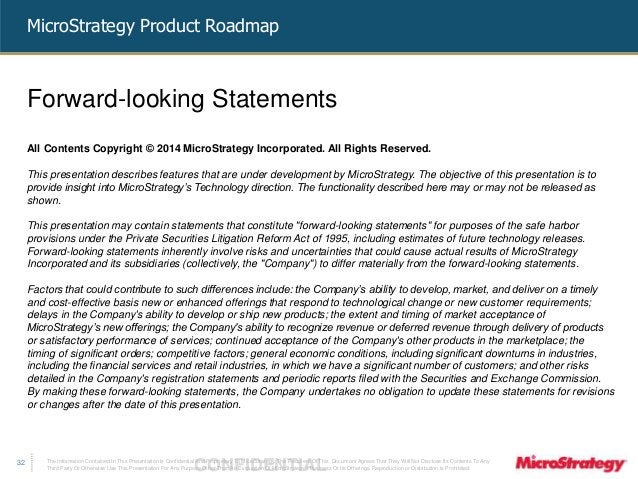 MicroStrategy Product Roadmap  The Information Contained In This Presentation Is Confidential CONFIDENTIAL And Proprietary...