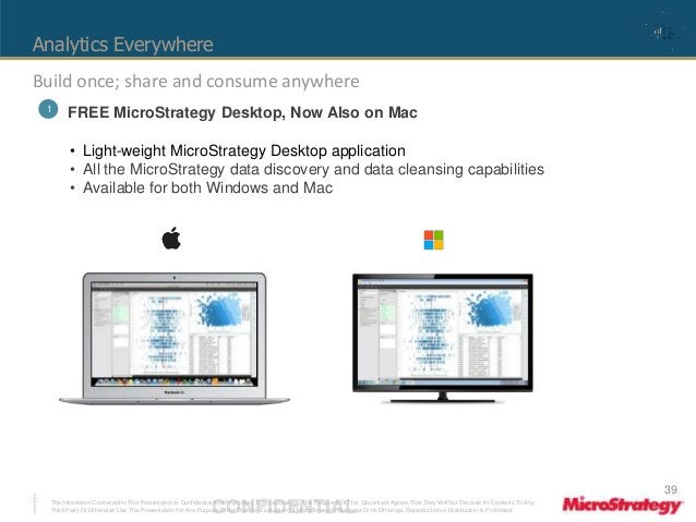 Analytics Everywhere  Build once; share and consume anywhere  1 FREE MicroStrategy Desktop, Now Also on Mac  • Light-weigh...