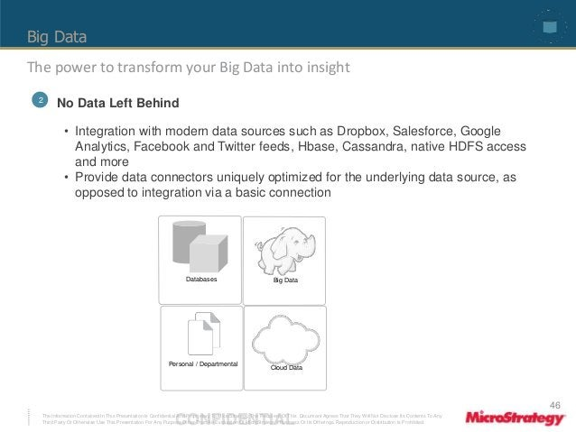 Big Data  The power to transform your Big Data into insight  • Integration with modern data sources such as Dropbox, Sales...