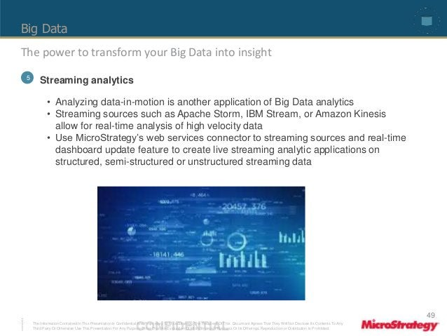 Big Data  The power to transform your Big Data into insight  5 Streaming analytics  • Analyzing data-in-motion is another ...
