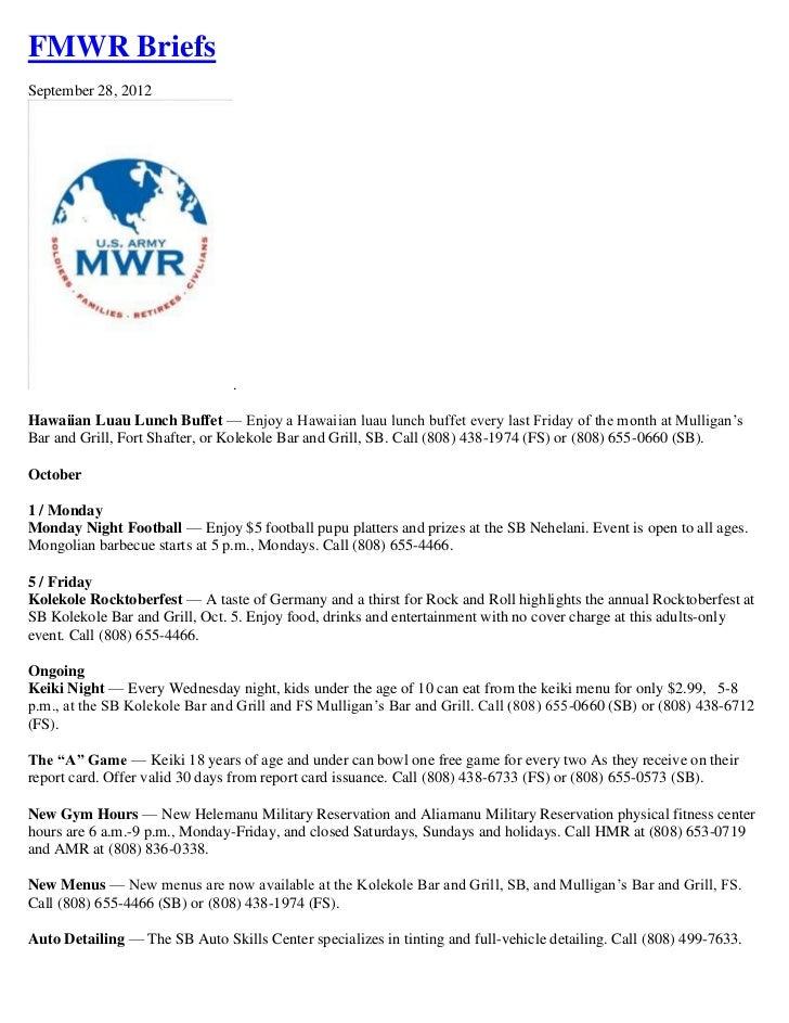FMWR BriefsSeptember 28, 2012                                .Hawaiian Luau Lunch Buffet — Enjoy a Hawaiian luau lunch buf...