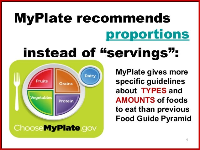 """MyPlate recommends proportions instead of """"servings"""": MyPlate gives more specific guidelines about TYPES and AMOUNTS of fo..."""