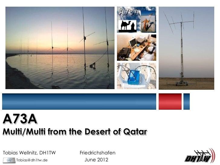 A73AMulti/Multi from the Desert of QatarTobias Wellnitz, DH1TW   Friedrichshafen     Tobias@dh1tw.de        June 2012