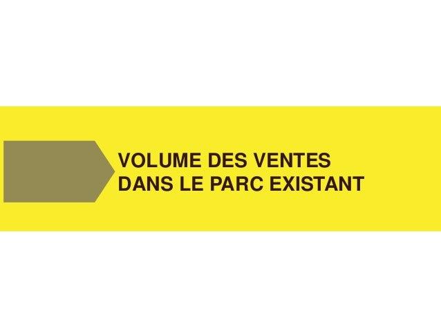 VOLUME DES VENTES DANS LE PARC EXISTANT