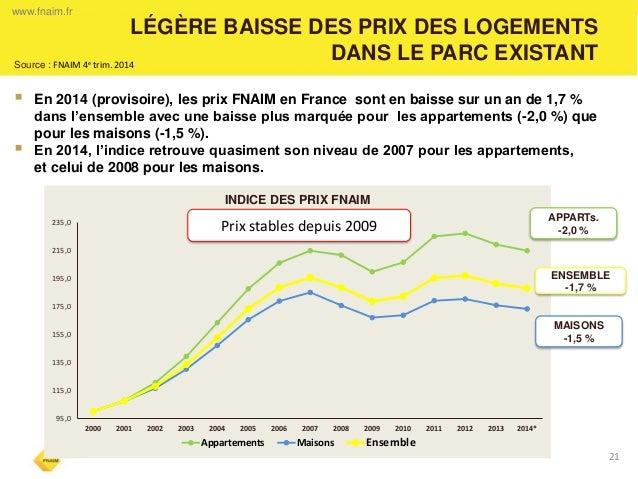 LÉGÈRE BAISSE DES PRIX DES LOGEMENTS DANS LE PARC EXISTANT  21  En 2014 (provisoire), les prix FNAIM en France sont en ba...
