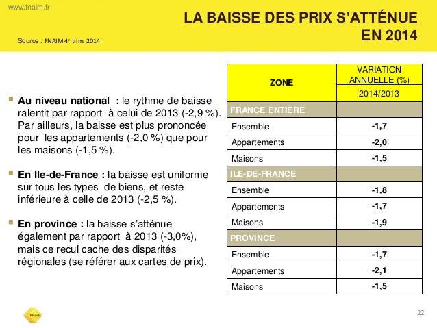 LA BAISSE DES PRIX S'ATTÉNUE EN 2014  22  Au niveau national : le rythme de baisse ralentit par rapport à celui de 2013 (...
