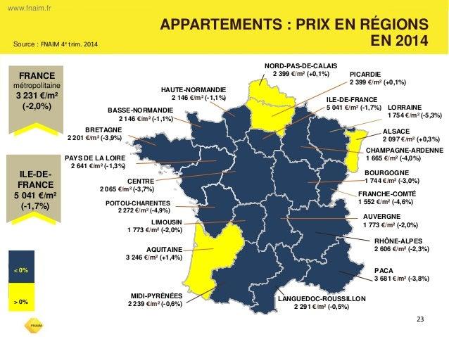 www.fnaim.fr  APPARTEMENTS : PRIX EN RÉGIONS  EN 2014  23  -  NORD-PAS-DE-CALAIS  2 399 €/m² (+0,1%)  HAUTE-NORMANDIE  2 1...