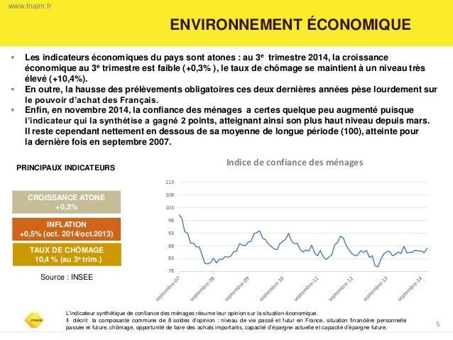 ENVIRONNEMENT ÉCONOMIQUE  5  CROISSANCE ATONE +0,3%  TAUX DE CHÔMAGE  10,4 % (au 3e trim.)  PRINCIPAUX INDICATEURS  Les i...