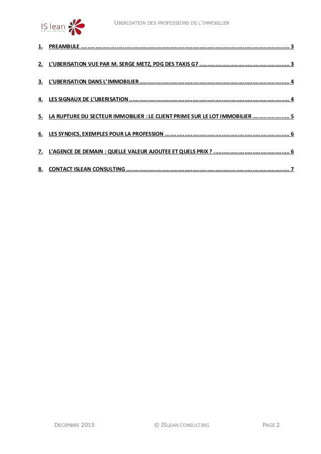 UBERISATION DES PROFESSIONS DE L'IMMOBILIER DECEMBRE 2015 © ISLEAN CONSULTING PAGE 2 1. PREAMBULE ...........................