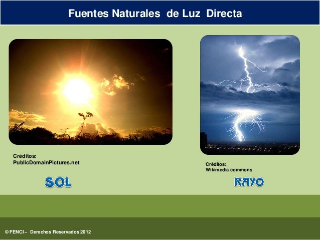 Fuentes naturales y artificiales de luz directa for Fuentes artificiales