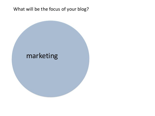 marketingWhat will be the focus of your blog?