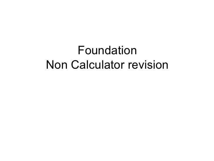 Foundation Non Calculator revision