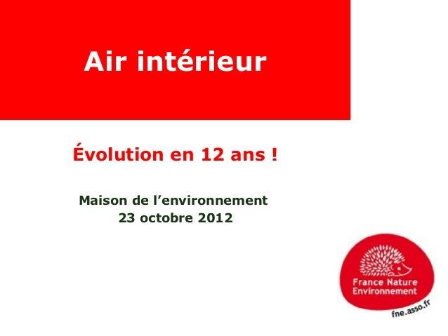 Air intérieurÉvolution en 12 ans !Maison de l'environnement     23 octobre 2012