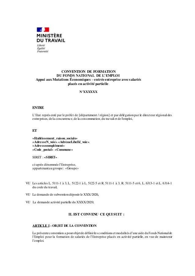 CONVENTION DE FORMATION DU FONDS NATIONAL DE L'EMPLOI Appui aux Mutations Économiques – entrée entreprise avec salariés pl...