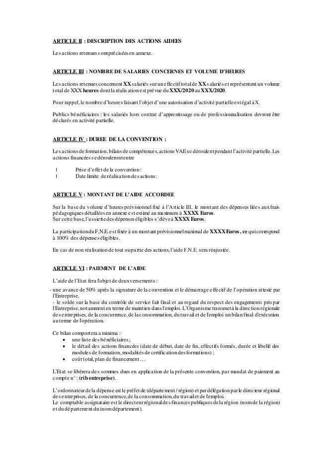 ARTICLE II : DESCRIPTION DES ACTIONS AIDEES Les actions retenues sontprécisées en annexe. ARTICLE III : NOMBRE DE SALARIES...