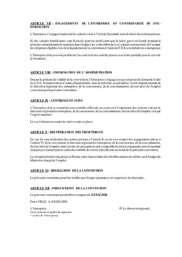 ARTICLE VII : ENGAGEMENTS DE L'ENTREPRISE EN CONTREPARTIE DU FNE- FORMATION L'Entreprise s'engageà maintenir les salariésv...