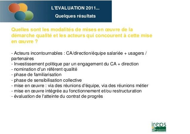L'EVALUATION 2011... Quelques résultats Quelles sont les modalités de mises en œuvre de la démarche qualité et les acteurs...