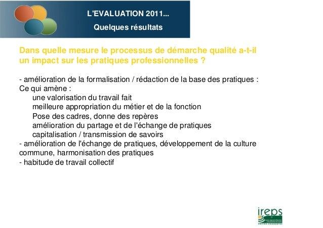 L'EVALUATION 2011... Quelques résultats Dans quelle mesure le processus de démarche qualité a-t-il un impact sur les prati...