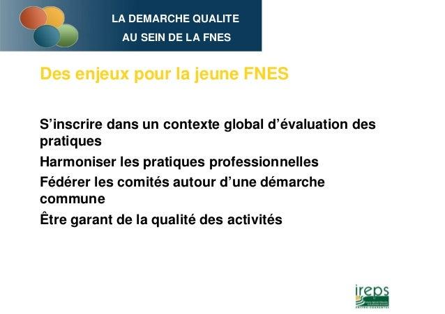 LA DEMARCHE QUALITE AU SEIN DE LA FNES Des enjeux pour la jeune FNES S'inscrire dans un contexte global d'évaluation des p...