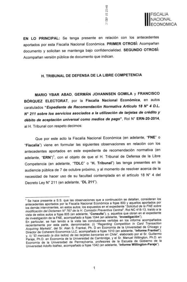 FNE entrega informe sobre efectos del monopolio de Transbank al TDLC