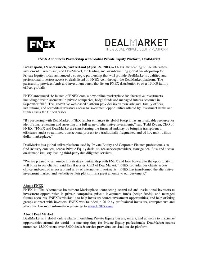 FNEX Announces Partnership with Global Private Equity Platform, DealMarket Indianapolis, IN and Zurich, Switzerland (April...