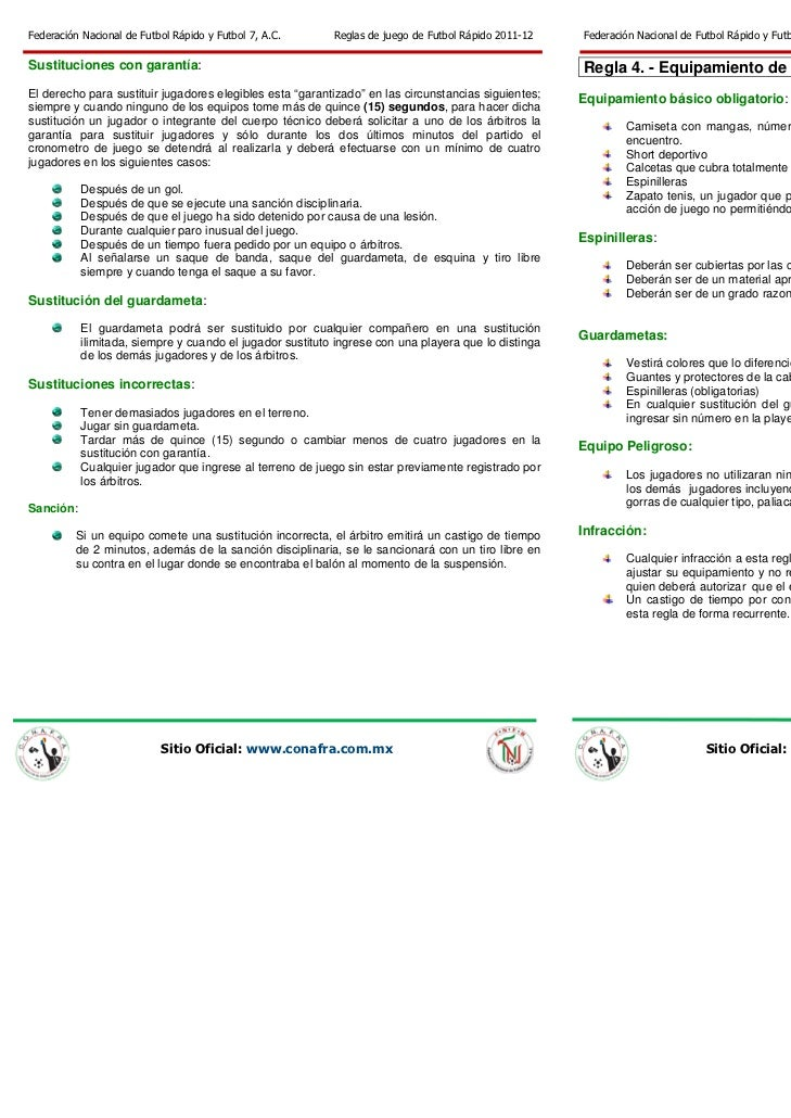 Fnfr Reglas De Juego De Futbol Rapido 2011 Pdf