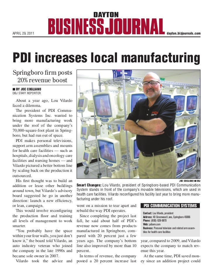 reases local manufacturingtst          APRIL 29, 2011                                                                     ...