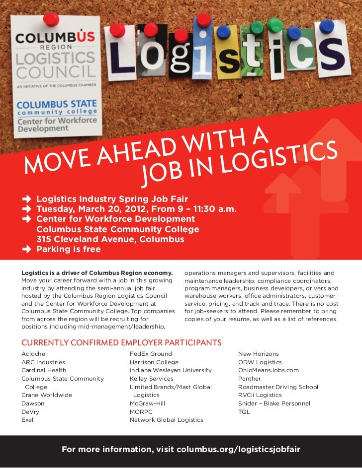 with a stics     Ahead n LogiMove    Job i    Logistics Industry Spring Job Fair    Tuesday, March 20, 2012, From 9 – 11:3...