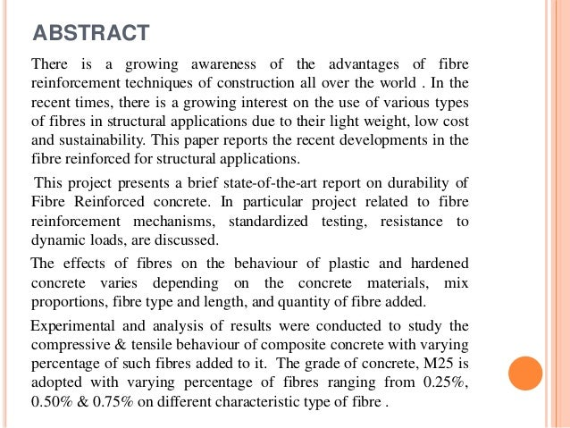 the concrete and fibre reinforcement construction essay Reporting the results of experimental and field use of fiber reinforcement in concrete construction this study included an examination of the properties of plastic fiber material designed for concrete.