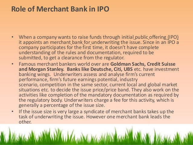 Investment banking roles in an ipo