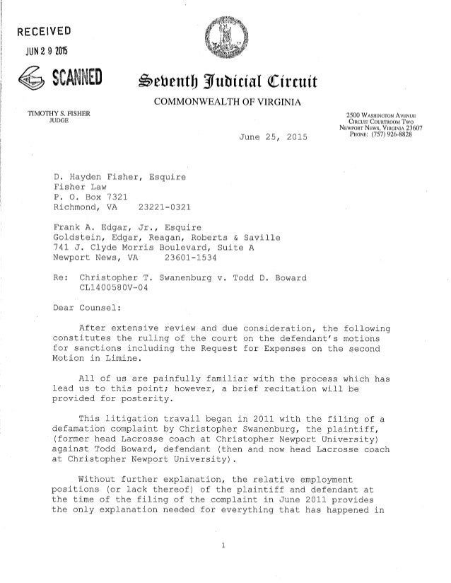 Judge's opinion letter sanctions june 25 2015