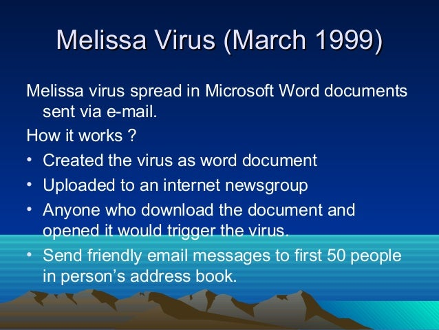 Related Keywords Amp Suggestions For Melissa Virus 1999