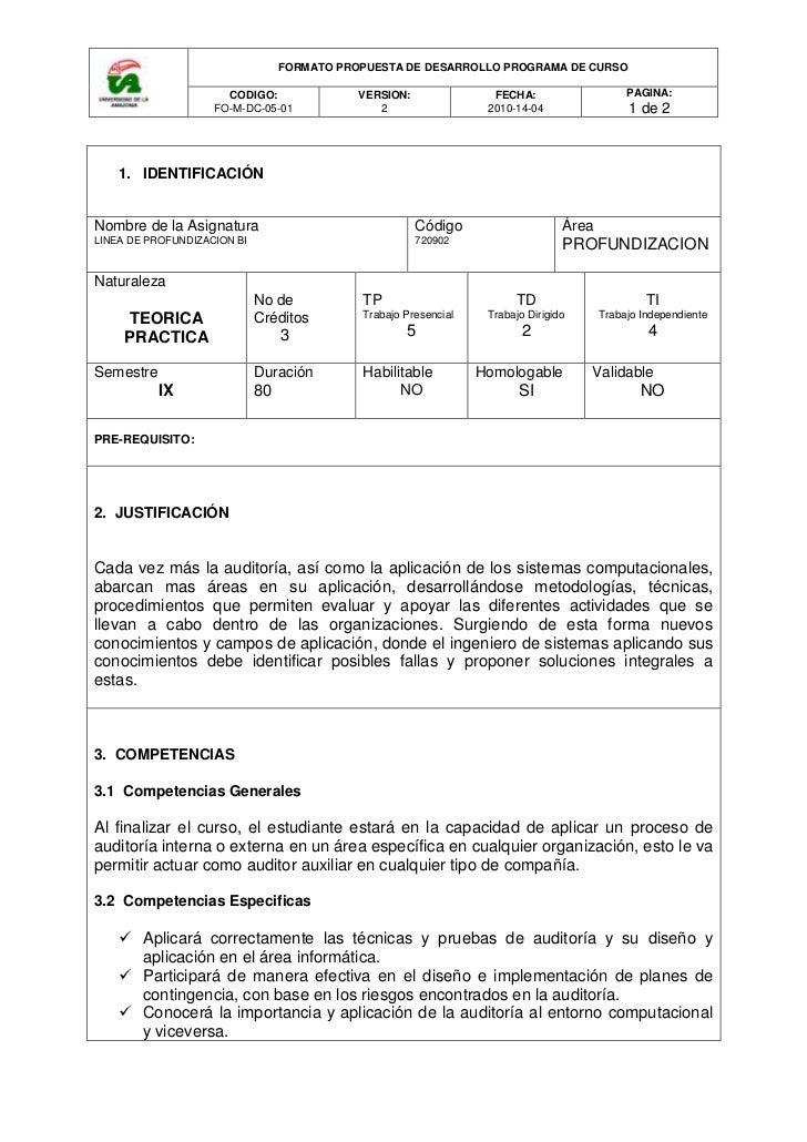 IDENTIFICACIÓNNombre de la AsignaturaLINEA DE PROFUNDIZACION BICódigo 720902ÁreaPROFUNDIZACIONNaturalezaTEORICA PRACTICANo...