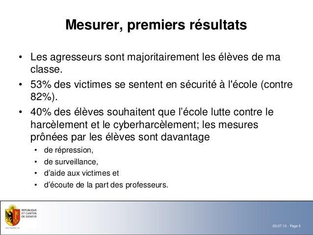 Mesurer, premiers résultats• Les agresseurs sont majoritairement les élèves de ma  classe.• 53% des victimes se sentent en...