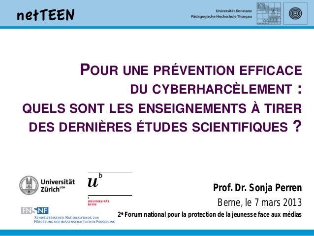 POUR UNE PRÉVENTION EFFICACE             DU CYBERHARCÈLEMENT :QUELS SONT LES ENSEIGNEMENTS À TIRER DES DERNIÈRES ÉTUDES SC...
