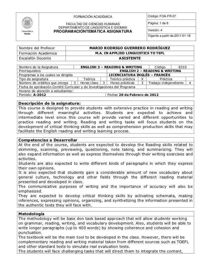 FORMACIÓN ACADÉMICA                         Código: FOA-FR-07                           FACULTAD DE CIENCIAS HUMANAS      ...