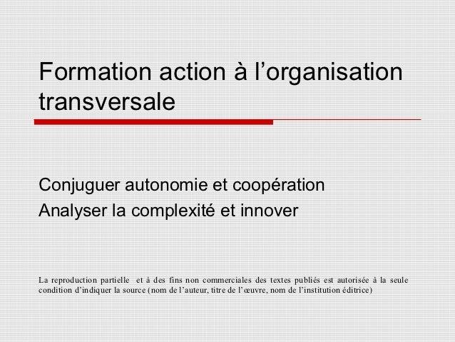 Formation action à l'organisationtransversaleConjuguer autonomie et coopérationAnalyser la complexité et innoverLa reprodu...