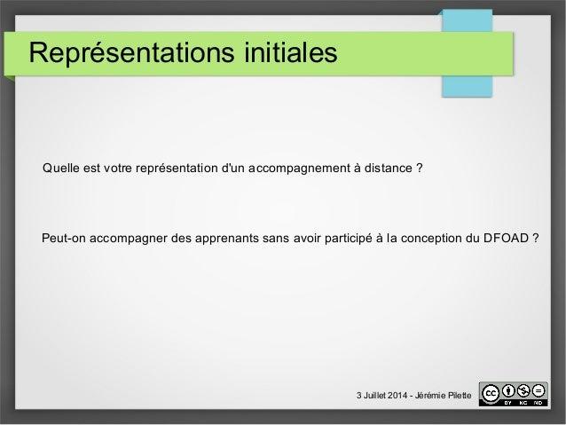 Représentations initiales  Quelle est votre représentation d'un accompagnement à distance ?  Peut-on accompagner des appre...