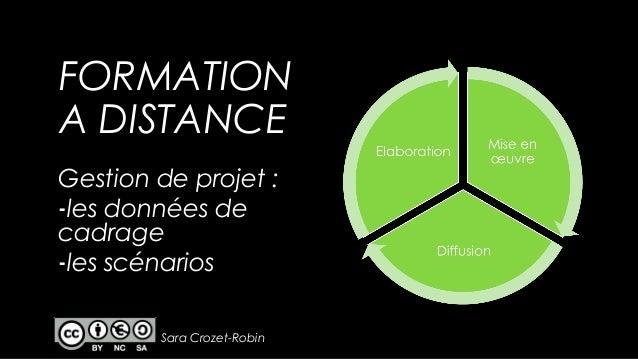 FORMATION A DISTANCE Gestion de projet : -les données de cadrage -les scénarios Sara Crozet-Robin