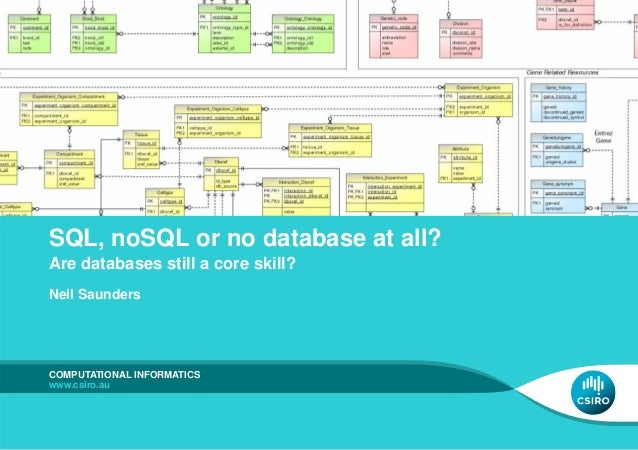 SQL, noSQL or no database at all? Are databases still a core skill? Neil Saunders COMPUTATIONAL INFORMATICS www.csiro.au