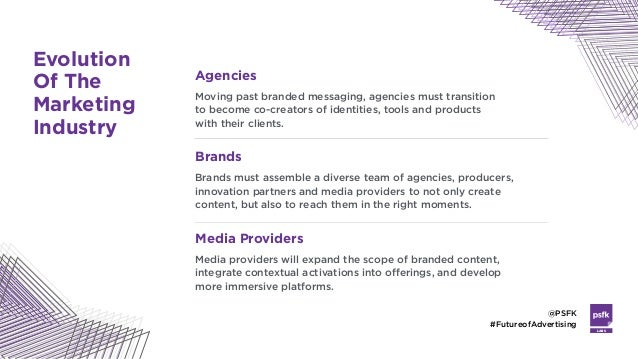LABS @PSFK #FutureofAdvertising Agencies Moving past branded messaging, agencies must transition  to become co-creators o...