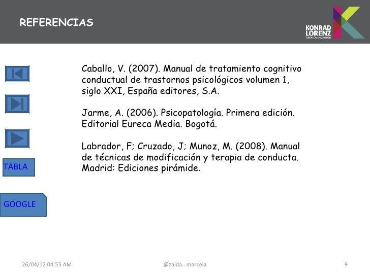 REFERENCIAS                       Caballo, V. (2007). Manual de tratamiento cognitivo                       conductual de ...