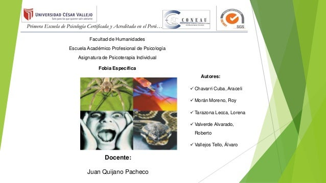 Facultad de Humanidades Escuela Académico Profesional de Psicología Asignatura de Psicoterapia Individual Fobia Específica...