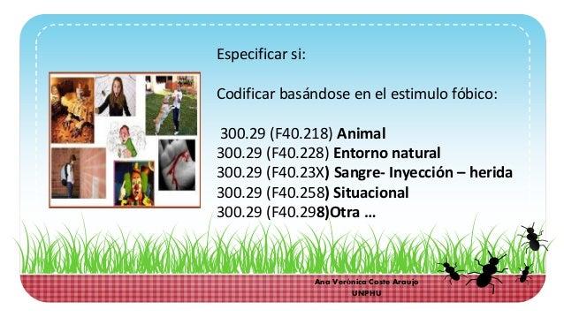 Especificar si: Codificar basándose en el estimulo fóbico: 300.29 (F40.218) Animal 300.29 (F40.228) Entorno natural 300.29...