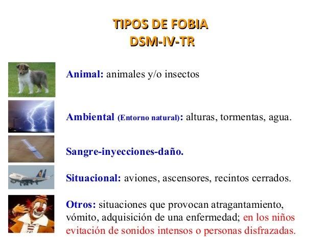 TIPOS DE FOBIATIPOS DE FOBIA DSM-IV-TRDSM-IV-TR Animal: animales y/o insectos Ambiental (Entorno natural): alturas, tormen...